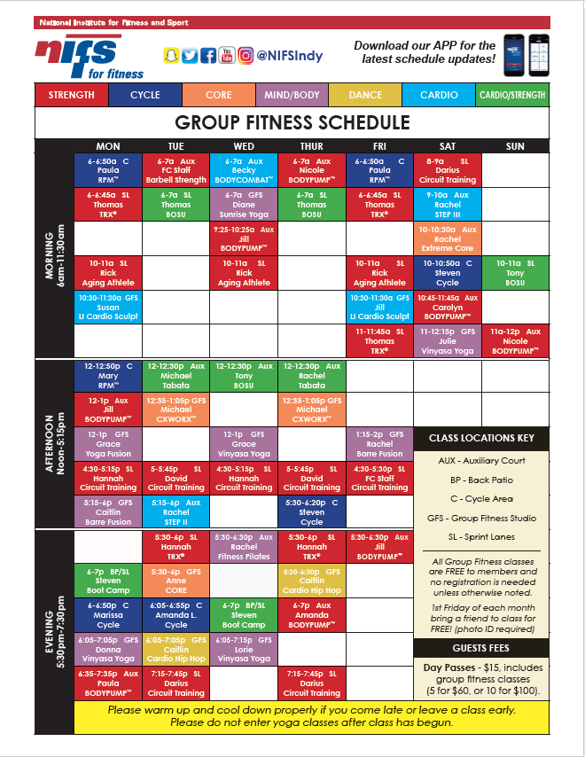 GF Schedule April 2